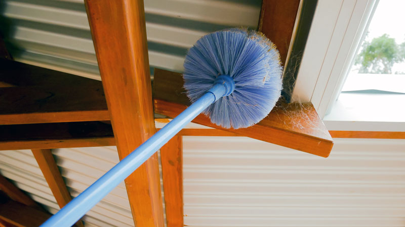 how to clean spider webs